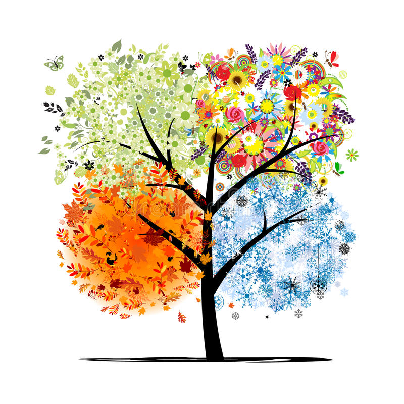four seasons spring summer autumn winter art tree beautiful your design file eps format 34448482
